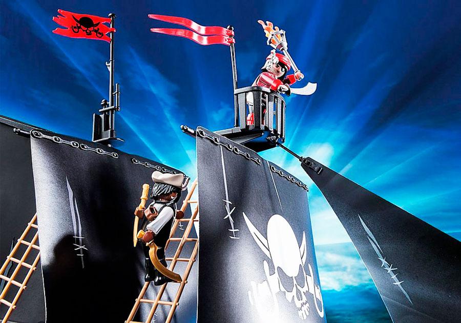 Detalle velas Barco Corsario Playmobil